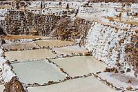 Maras salt mines in the peruvian Andes at Cuzco Peru