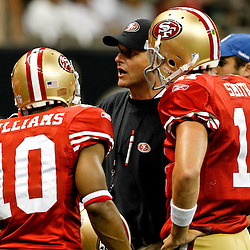 August 12, 2011; New Orleans, LA, USA; San Francisco 49ers head coach Jim Harbaugh prior to kickoff of a preseason game against the New Orleans Saints at the Louisiana Superdome. Mandatory Credit: Derick E. Hingle