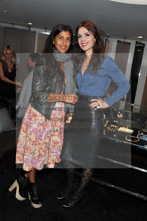 Left to right, MAYA TURNBULL and LARA BOHINC at the Goode & Son collection showcase in the E Wow Suite, W London, Leicester Square, London on 6th October 2011.