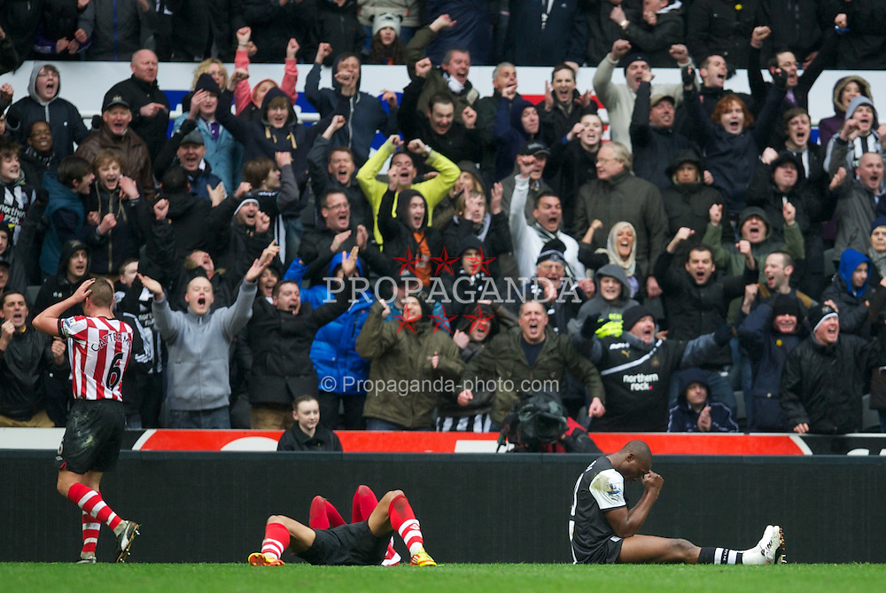 NEWCASTLE, ENGLAND - Sunday, March 4, 2012: Newcastle United's Demba Ba celebrates winning a penalty against Sunderland during the Premiership match at St. James' Park. (Pic by David Rawcliffe/Propaganda)