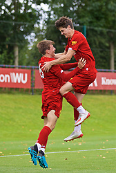 KIRKBY, ENGLAND - Saturday, August 31, 2019: Liverpool's Layton Stewart (R) celebrates the fourth goal with team-mate Leighton Clarkson during the Under-18 FA Premier League match between Liverpool FC and Manchester United at the Liverpool Academy. (Pic by David Rawcliffe/Propaganda)