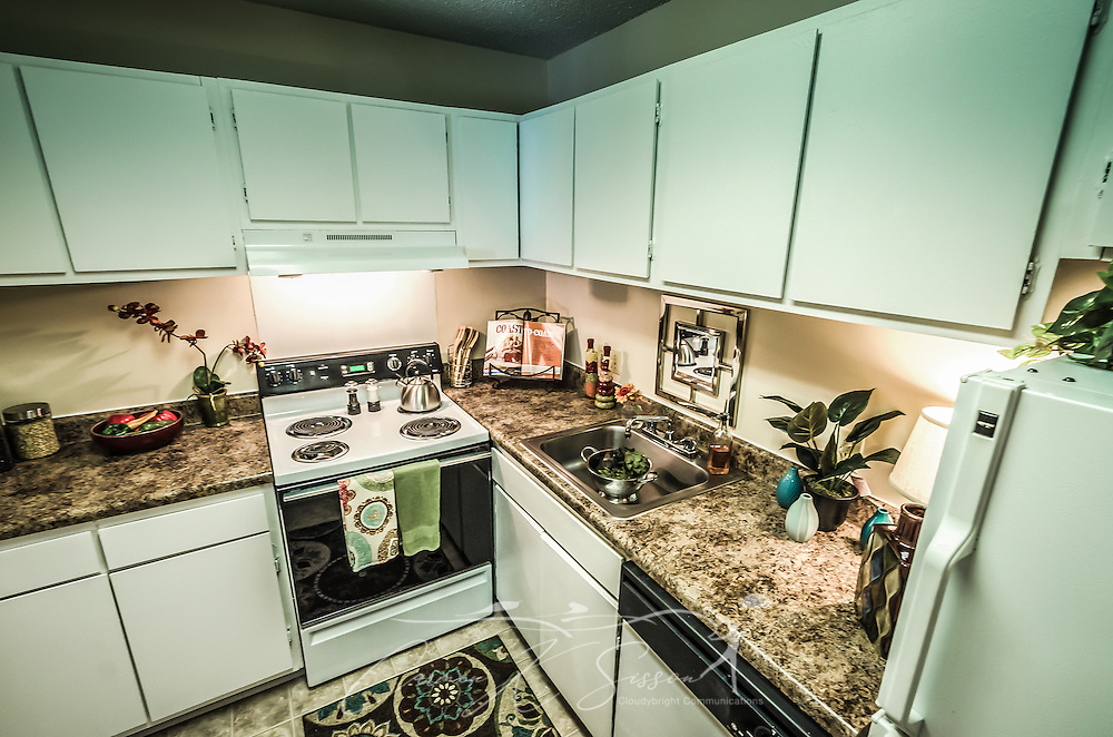 The kitchen at Autumn Woods Apartments on Foreman Road in Mobile, Alabama. The property is owned and operated by Sealy Management Co. (Photo by Carmen K. Sisson/Cloudybright)