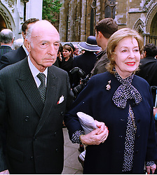 MR & MRS JOHN PROFUMO hte former Conservative government minister, at a memorial service in London on 15th July 1998.MJC 59