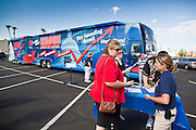 Aug 9, 2010 - SUN CITY WEST, AZ: People check in at the Spending Revolt Bus during its stop in Sun City West, AZ, Monday. The Spending Revolt Bus stopped in Sun City West, a retirement community northwest of Phoenix, Monday. Spending Revolt is a new coalition of taxpayers and business owners concerned about government spending. The bus is attracting Republican and Tea Party affiliated candidates to its events. The bus has crisscrossed Nevada, California and Arizona and is heading east to Washington DC.   Photo by Jack Kurtz / ZUMA Press
