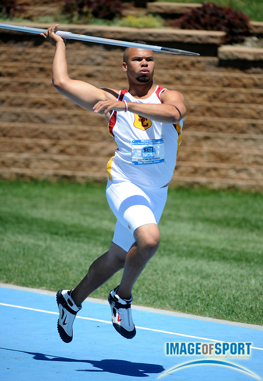 Jun 13, 2008; Des Moines, IA; Corey White of Southern California was second in the javelin at 255-2 (77.79m) in the NCAA Track & Field Championships at Drake Stadium.