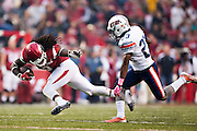 FAYETTEVILLE, AR - OCTOBER 31:  Alex Collins #3 of the Arkansas Razorbacks trips and falls while being chased by Justin Jackson #23 of the UT Martin Skyhawks at Razorback Stadium on October 31, 2015 in Fayetteville, Arkansas.  The Razorbacks defeated the Skyhawks 63-28.  (Photo by Wesley Hitt/Getty Images) *** Local Caption *** Alex Collins; Justin Jackson