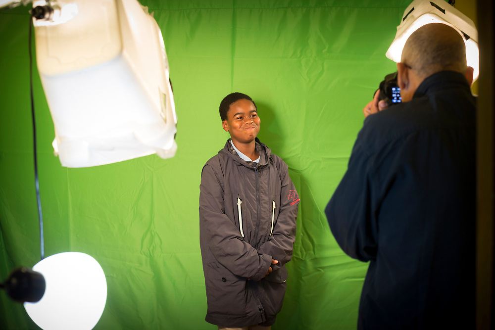 NOVEMBER, 16, 2017 - NOVEMBER, 16, 2017 - NORTH CHARLESTON, S.C.- Local photographer Douglass Carr Cunningham, right, teaches a student at Metanoia how to use inexpensive item to create lighting in a photography studio. Instructors use the art of photography to teach students about the fundamentals of a small business. (BNG/Stephen B. Morton)