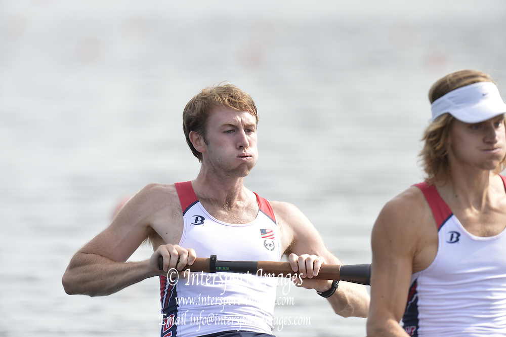 Trackai. LITHUANIA. ..USA BLM 2- at the start.  at the start. 2012 FISA U23 World Rowing Championships.  Lake Galve. ..16:35:01  Wednesday  11/07/2012 [Mandatory Credit: Peter Spurrier/Intersport Images]..Rowing. 2012. U23.