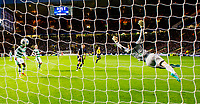 19/08/15 UEFA CHAMPIONS LEAGUE PLAY-OFF 1ST LEG<br /> CELTIC V MALMO<br /> CELTIC PARK - GLASGOW<br /> Celtic keeper Craig Gordon is unable to stop Jo Inge Berget from scoring for Malmo.