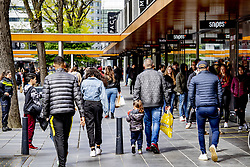 People wearing facemasks in the center of Rotterdam, Netherlands, on May 02, 2020. Many people shopping with one and a half meter social distance. Photo by Robin Utrecht/ABACAPRESS.COM
