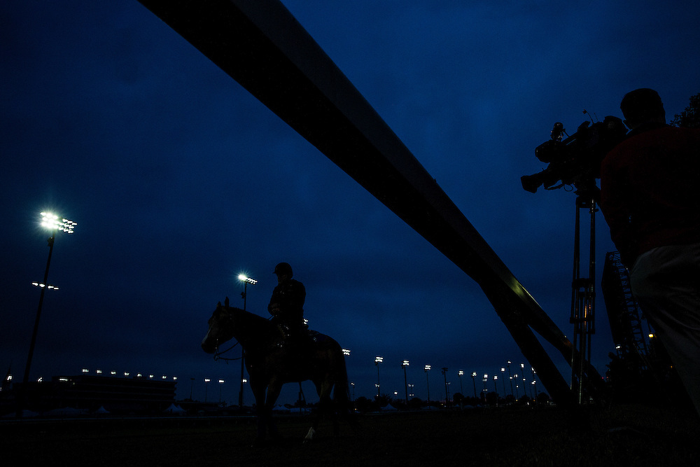 April 30, 2015: Camera crews prepare to photograph Derby contenders at Churchill Downs Louisville Ky. Alex Evers/ESW/CSM