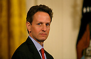 Secretary of the Treasury Tim Geithner at a East Room meeting of Presidsent Obama and small business owners on March 16, 2009. Photo by Dennis Brack