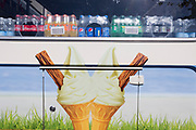 A detailed rear of an ice cream cone and soft drinks van parked in Blackfriars, London SE1, on 6th September, in London, England.