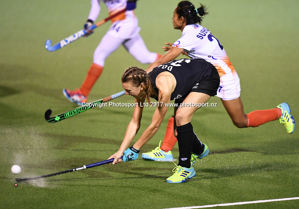 Madison Doar.<br /> Vantage Black Sticks Women vs India. International Hockey. Rosa Birch Park, Pukekohe, Auckland, New Zealand. Wednesday 17 May 2017 &copy; Copyright Photo: Andrew Coranga / www.photosport.nz