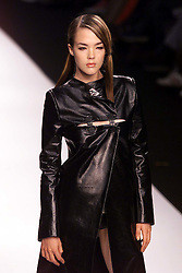 Boudicca Spring/Summer 2001 London Fashion Week.Model wears black leather coat with slit.Photo by Andrew Parsons/i-Images.All Rights Reserved ©Andrew Parsons/i-images.See Instructions.