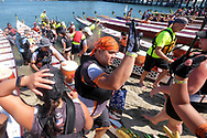 Dragon Boat racers greets teammates after competed at Long Beach Dragon Boat Festival at Marine Stadium in Long Beach, California, on July 30, 2017. (Photo by Ringo Chiu)<br /> <br /> Usage Notes: This content is intended for editorial use only. For other uses, additional clearances may be required.