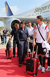15.07.2014, Flughafen Tegel, Berlin, GER, FIFA WM, Empfang der Weltmeister in Deutschland, Finale, im Bild vl. Assistenz-Trainer Hans-Dieter Flick (GER), Bundestrainer Joachim Loew (GER) und Roman Weidenfeller (GER) // during Celebration of Team Germany for Champion of the FIFA Worldcup Brazil 2014 at the Flughafen Tegel in Berlin, Germany on 2014/07/15. EXPA Pictures © 2014, PhotoCredit: EXPA/ Eibner-Pressefoto/ Eibner Pressefoto / pool<br /> <br /> *****ATTENTION - OUT of GER*****