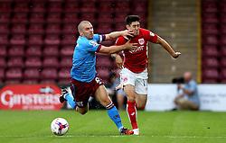 Stephen Dawson of Scunthorpe United fouls Callum O'Dowda of Bristol City - Mandatory by-line: Robbie Stephenson/JMP - 23/08/2016 - FOOTBALL - Glanford Park - Scunthorpe, England - Scunthorpe United v Bristol City - EFL Cup second round