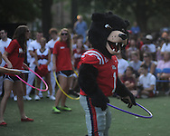 Rebel the Black Bear performs at an Ole Miss pep rally in the Grove in Oxford, Miss. on Thursday, September 1, 2011.