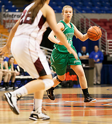 Fayetteville forward Kathryn Peelish (10) looks for open teammate against Wheeling Central during a first round game at the Charleston Civic Center.