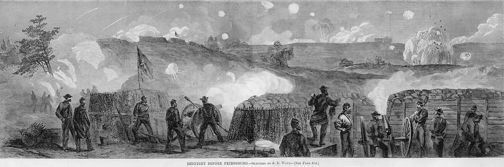 Civil War: Midnight before Petersburg, Virginia September 16, 1864.  Illustration from Harper's Weekly r 18, 1864 Pages 648 & 649