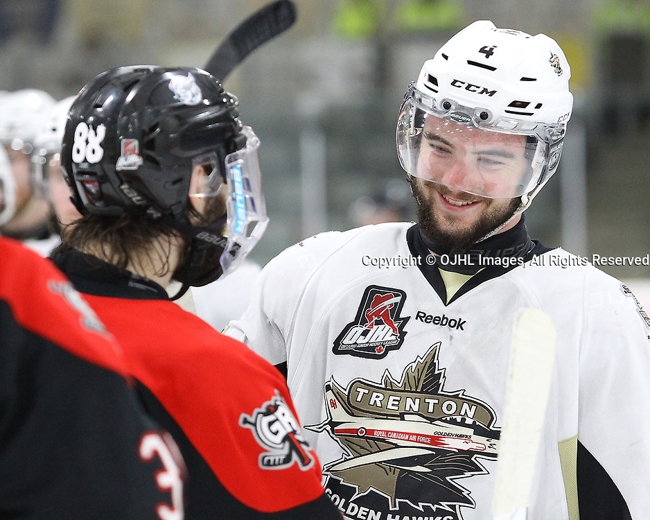 TRENTON, ON  - MAY 3,  2017: Canadian Junior Hockey League, Central Canadian Jr. &quot;A&quot; Championship. The Dudley Hewitt Cup Game 4 between Georgetown Raiders and Trenton Golden Hawks.   Chays Ruddy #4 of the Trenton Golden Hawks shakes hands with Andrew Court #88 of the Georgetown Raiders post game. <br /> (Photo by Alex D'Addese / OJHL Images)