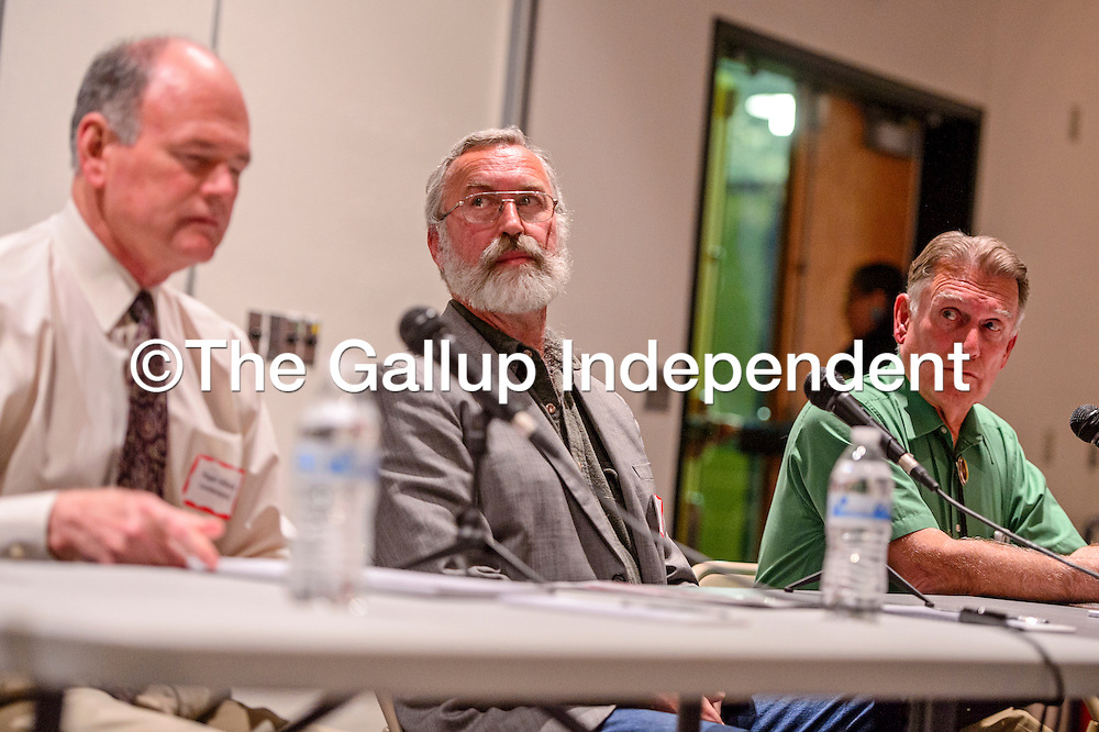 021615       Cable Hoover<br /> <br /> District 2 city councilor candidates, Roger Allan Landavazo, left, Michael Schaaf and Gerald Anthony O'Hara listens to questions from the moderator during a forum at UNM-Gallup Monday.