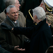 Presidential Inauguration 2005- GEORGE W. BUSH.Washington, DC.01/20/2005.West Front - US Capitol.Former President Bill Clinton with Sec. of State Colin Powell..Photo by Khue Bui..