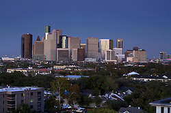 Downtown Houston skyline seen from the western side