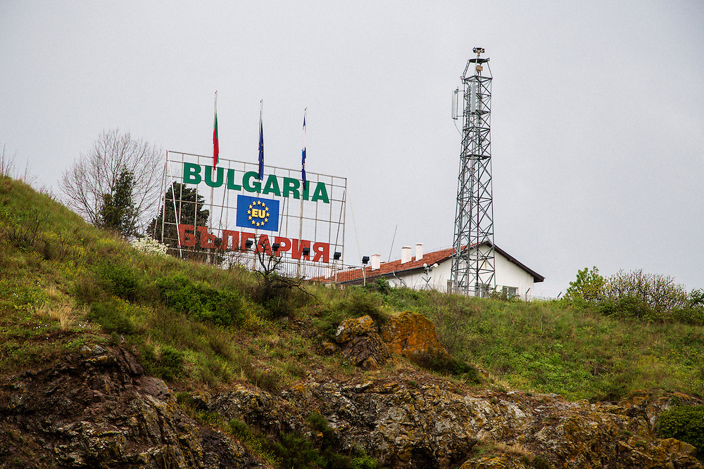 A sign at the border police station in Rezovo, Bulgaria. The tower watches over the border area with Turkey.<br /> <br /> Matt Lutton / Boreal Collective for VICE
