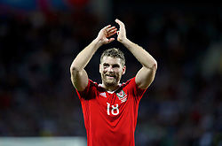 TOULOUSE, FRANCE - Monday, June 20, 2016: Wales' Sam Vokes celebrates the 3-0 victory over Russia and reaching the knock-out stage during the final Group B UEFA Euro 2016 Championship match at Stadium de Toulouse. (Pic by David Rawcliffe/Propaganda)