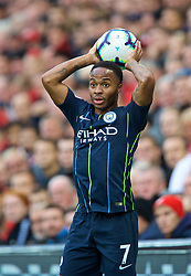 LIVERPOOL, ENGLAND - Sunday, October 7, 2018: Manchester City's Raheem Sterling takes a throw-in during the FA Premier League match between Liverpool FC and Manchester City FC at Anfield. (Pic by David Rawcliffe/Propaganda)