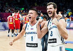 Matic Rebec of Slovenia and Goran Dragic of Slovenia celebrating at Trophy ceremony after winning during the Final basketball match between National Teams  Slovenia and Serbia at Day 18 of the FIBA EuroBasket 2017 when Slovenia became European Champions 2017, at Sinan Erdem Dome in Istanbul, Turkey on September 17, 2017. Photo by Vid Ponikvar / Sportida
