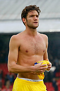 Chelsea defender Marcos Alonso (3) removes his shirt after the final whistle during the Premier League match between Crystal Palace and Chelsea at Selhurst Park, London, England on 30 December 2018.