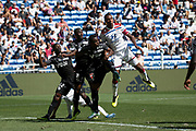 Fofana Gussouma of Amiens and Guedes Filho Marcelo of Lyon and Dibassy Bakaye of Amiens during the French championship L1 football match between Olympique Lyonnais and Amiens on August 12th, 2018 at Groupama stadium in Decines Charpieu near Lyon, France - Photo Romain Biard / Isports / ProSportsImages / DPPI