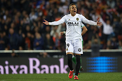 February 28, 2019 - Valencia, Valencia, Spain - Rodrigo Moreno of Valencia celebrates after scoring his sides first goal during the Copa del Rey Semi Final match second leg between Valencia CF and Real Betis Balompie at Mestalla Stadium in Valencia, Spain on February 28, 2019. (Credit Image: © Jose Breton/NurPhoto via ZUMA Press)