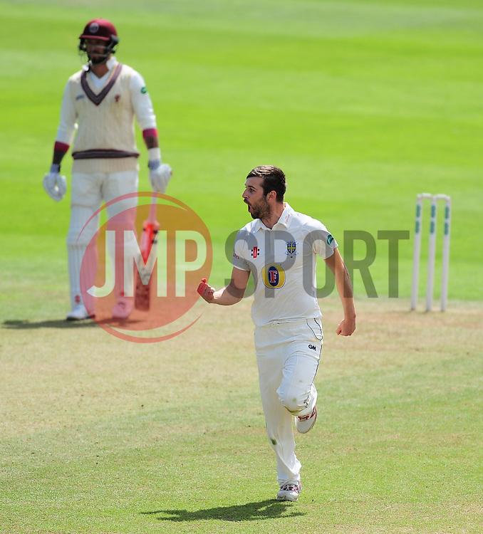 Mark Wood of Durham celebrates the wicket of Roelof Van Der Merwe - Mandatory by-line: Alex Davidson/JMP - 04/08/2016 - CRICKET - The Cooper Associates County Ground - Taunton, United Kingdom - Somerset v Durham - County Championship