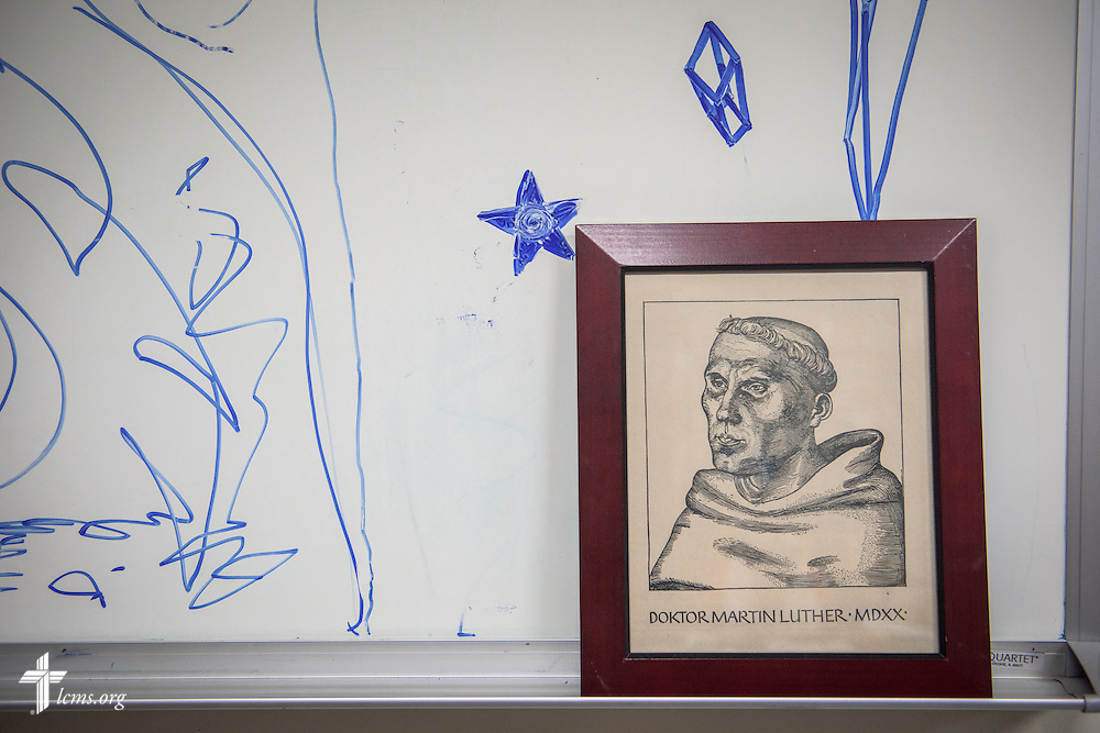 Drawings on the whiteboard around a sketch of Martin Luther at First Trinity Evangelical–Lutheran Church on Sunday, Nov. 20, 2016, in Pittsburgh. LCMS Communications/Erik M. Lunsford