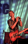 Blues singer Jonny Lang performs for the first family at the taping of the PBS special Legends of the Blues: In Performance at the White House on the South Lawn of the White House July 28, 1999 in Washington, DC.