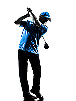 one man golfer golfing golf swing in silhouette studio isolated on white background