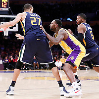 05 December 2016: Los Angeles Lakers center Tarik Black (28) defends on Utah Jazz center Rudy Gobert (27) during the Utah Jazz 107-101 victory over the Los Angeles Lakers, at the Staples Center, Los Angeles, California, USA.