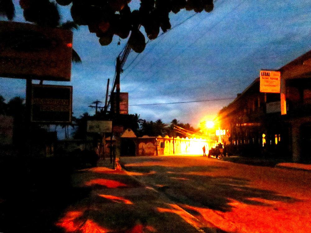 Guagua (bus) stop at dawn. Las Terrenas, Semana Peninsula, Dominican Republic