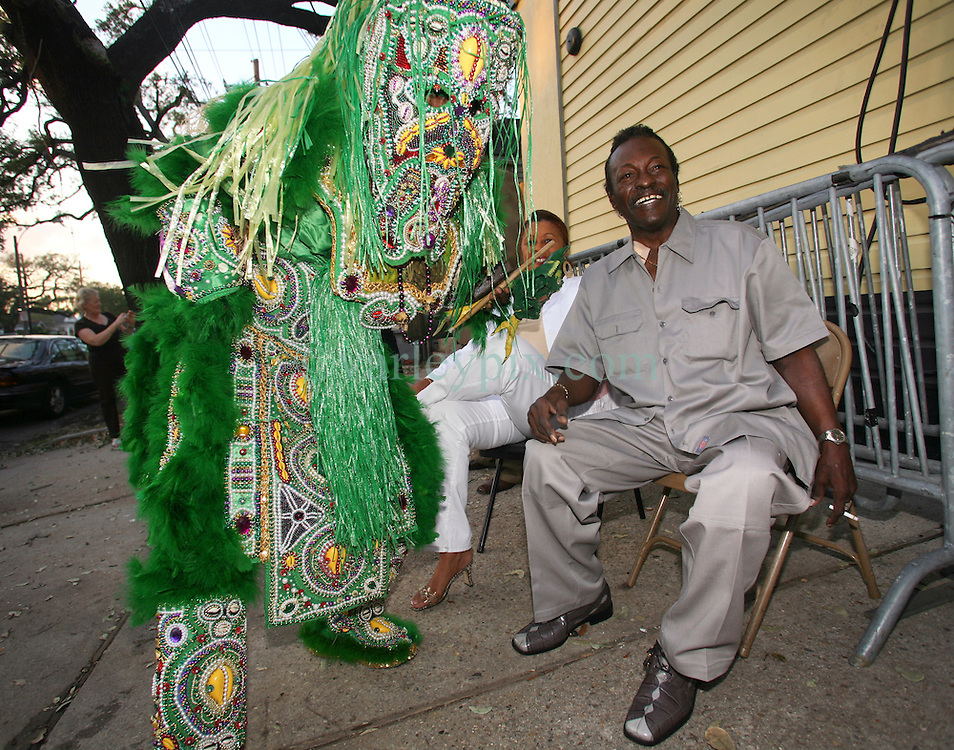 "01 May 2006. New Orleans, Louisiana. <br /> Mardi Gras Indian, Spirit of Fi Yi Yi tribe Victor Harris  meets with Big Chief Theodore ""Bo"" Dollis of the Wild Magnolias outside Tipitina's. Harris appeared for the annual 'Instruments A Comin' spectacle, hosted by the Tipitina's Foundation, a charity set up in the city to stimulate the recovery of New Orleans musical heritage.<br /> <br /> Big Chief Theodore ""Bo"" Dollis, who led the Wild Magnolia tribe of Mardi Gras Indians in performances around the world passed away January 20th, 2015. He was 71.<br /> Photo; Charlie Varley/varleypix.com"
