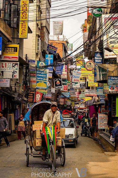a crowed narrow street of the Thamel Area, Kathmandu, nepal