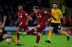 WOLVERHAMPTON, ENGLAND - Monday, January 7, 2019: Liverpool's Sheridan Shaqiri shoots during the FA Cup 3rd Round match between Wolverhampton Wanderers FC and Liverpool FC at Molineux Stadium. (Pic by David Rawcliffe/Propaganda)