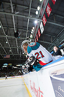 KELOWNA, CANADA - MARCH 7: Devante Stephens #21 of Kelowna Rockets stands at the bench against the Spokane Chiefs on March 7, 2015 at Prospera Place in Kelowna, British Columbia, Canada.  (Photo by Marissa Baecker/Shoot the Breeze)  *** Local Caption *** Devante Stephens;