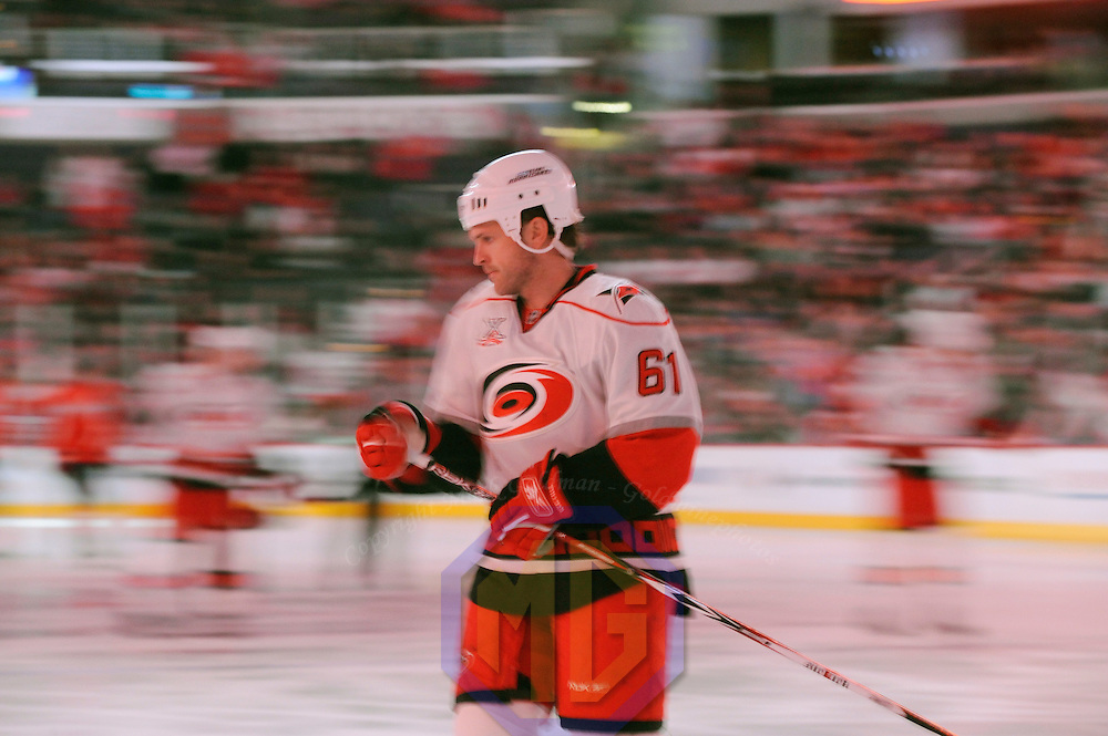 08 February 2008:  Carolina Hurricanes left wing Cory Stillman (61) warms up prior to the game against the Washington Capitals at the Verizon Center in Washington, D.C.  The Hurricanes defeated the Capitals  2-1.