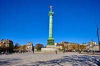 France, Paris (75), Place de la Bastille durant le confinement du Covid 19 // France, Paris, Bastille square during the containment of Covid 19
