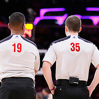 09 March 2014: referee James Capers (19) and referee Kane Fitzgerald (35) are seen during the Los Angeles Lakers 114-110 victory over the Oklahoma City Thunder at the Staples Center, Los Angeles, California, USA.
