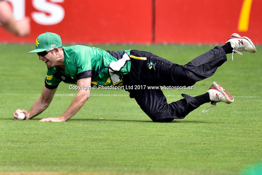Central Stags' Marty Kain catches Firebirds' Tom Blundell during the Stags v Firebirds - Super Smash cricket Grand Final at Pukekura Park in New Plymouth on Saturday the 07 January 2017. Copyright Photo by Marty Melville / www.Photosport.nz